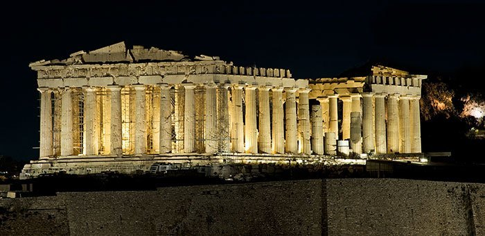 nea acropoli parthenon at night